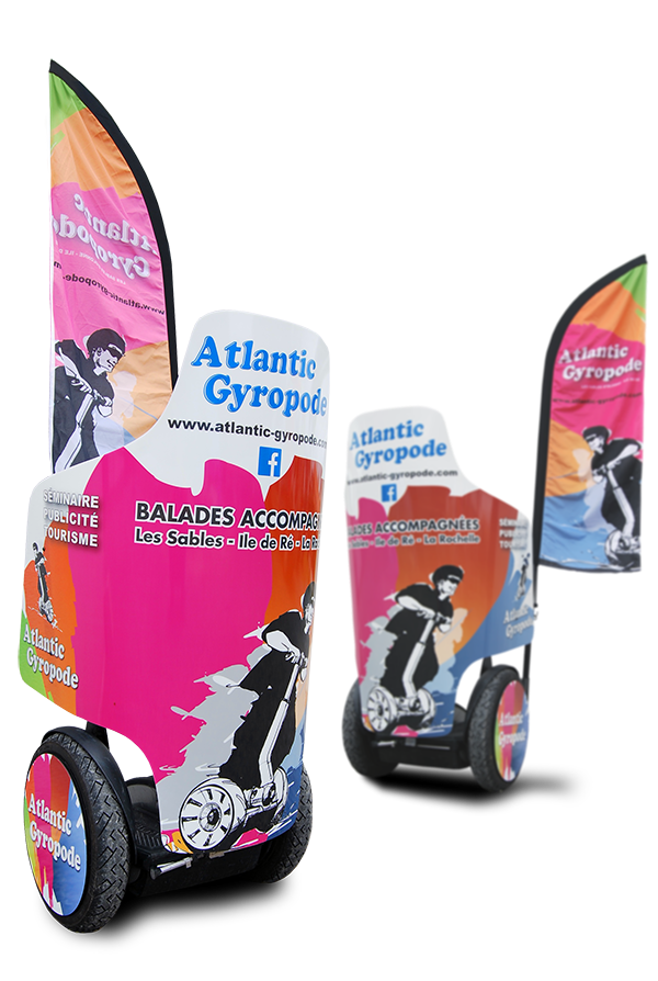 Communication visuelle sur SEGWAY - Street marketing - ATLANTIC GYROPODE - Montage